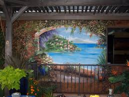 ferreira designs murals fine art faux finish painting mural why look out to your backyard and look at a plain wall garage or fence you put so much love and beauty into your yard with flowers trees and maybe even