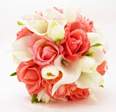 coral real touch roses with real touch white calla lilies and real