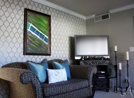 living room accent wall with cutting edge stencils ask anna