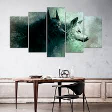 wolf home decor hd print 5 pieces canvas wall art print wolf painting canvas