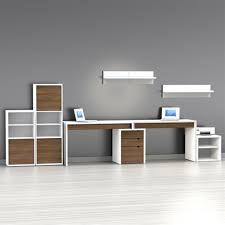 2 Person Desk For Home Office by Furniture White And Brown Stained Wooden Computer Desk With Open