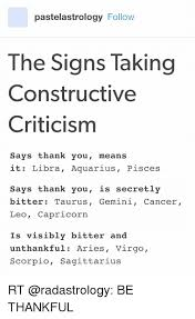 Funny Virgo Memes - pastelastrology follow the signs taking constructive criticism says