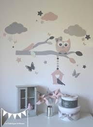hibou chambre bébé stickers décoration chambre enfant fille bébé branche cage à oiseau