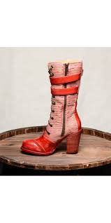 arabella steampunk style mid calf leather red boots by oak tree farms