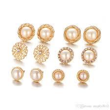 ear studs designs 2018 gold color stud earrings sets for women zircon
