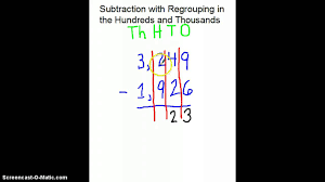 subtracting with regrouping in the hundreds and thousands youtube