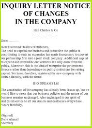 inquiry letter notice of changes in the company notice of