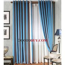 Blackout Window Curtains Modern Custom Blue Mediterranean Style Double Colors Stripe Fabric