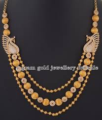 indian jewellery designs gold balls floral chain with peacock