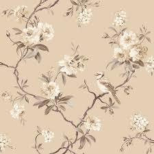 Papier Peint Chic Fine Decor Chic Floral Chinoiserie Bird Wallpaper In Grey Teal