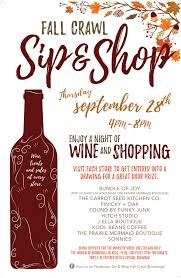 sip and shop invitation downtown brookings shopping event sip u0026 shop fall crawl on