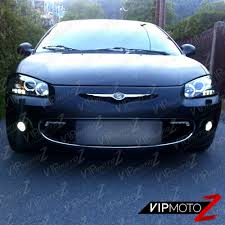 2001 03 chrysler sebring led projector black headlight halo lamp