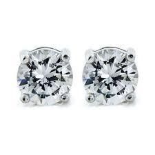 silver stud earrings 14k diamond simulated 1ct post stud earrings cate