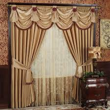 Champagne Color Wall Paint Decoration Window Treatment With Window Drapes And White Blue