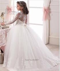 wholesale white long sleeve flower dresses for weddings kids