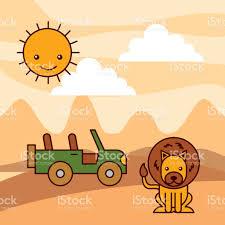 yellow jeep clipart safari africa lion jeep desert sun stock vector art 843117344 istock