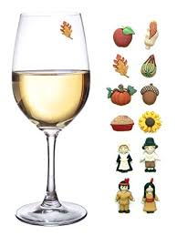 thanksgiving magnetic wine glass charms set of 12