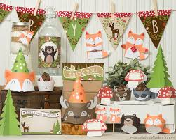 woodland themed baby shower decorations gender neutral woodland animals baby shower party supplies