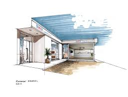 Kitchen Design Sketch Showroom Concept In Middle East Facades Middle East And Showroom