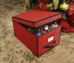 modern interior with christmas ornament container storage boxes