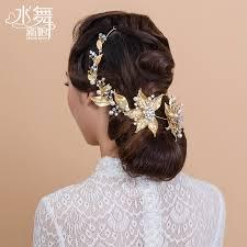 luxury hair accessories korean bridal hair accessories rhinestone pearl flowers 3d golden