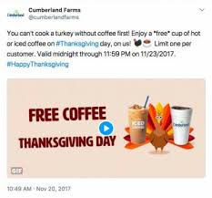 free cup of or iced coffee on thanksgiving day at cumberland