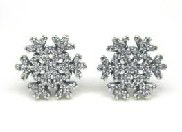 earring stud pandora snowflake clear cz earring studs s925 ale sterling silver