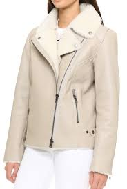 jacket moto women shearling moto off white leather jacket