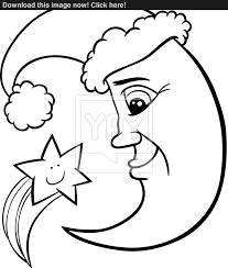 moon and star christmas coloring page vector yayimages com