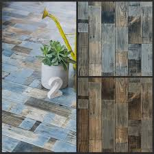 blue painted wood design lino flooring sheet non slip cushioned