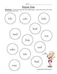 rhyming words worksheet 2