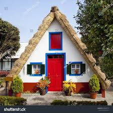 pastoral landscape small rural house triangular stock photo