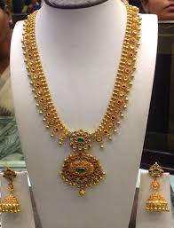 gold haram sets gold haram and jhumkas set jewellery designs