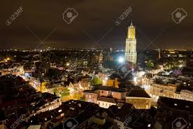 cityscape of the city of utrecht at with the dom cathedral