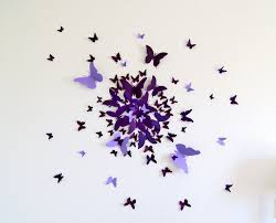Butterfly 3d Wall Art by 3d Butterfly Wall Art Decal Set Of 70 In Purple Paper