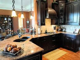 Dark Kitchen Cabinets With Backsplash Dark Kitchen Cabinets With Light Granite Home Design Ideas