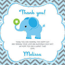 baby shower thank you cards boy elephant thank you card with from aoprintablesforkids on etsy