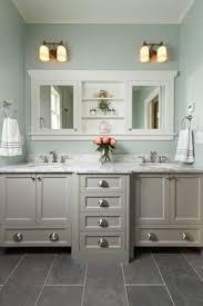 refined llc exquisite bathroom with freestanding gray double sink