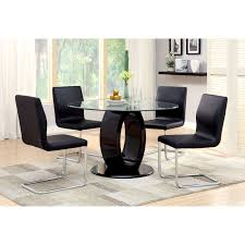 Round Dining Table With Glass Top Furniture Of America Damore Contemporary 5 Piece High Gloss Round