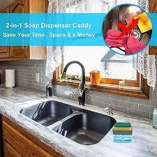 kitchen sink cabinet sponge holder matoen 2 in 1 sponge rack soap dispenser soap dispenser and
