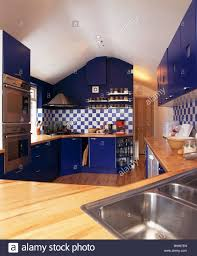 modern kitchen worktops blue fitted units with wood worktops in modern kitchen with stock