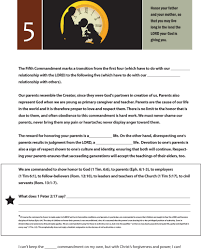worksheet to teach the fifth of the 10 commandments honor your