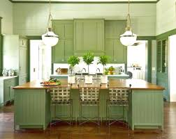 rustic sage green cabinet and antique glass pendant lamps for