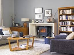 Blue Livingroom Grey And Light Blue Living Room Large Windows Brown Leather