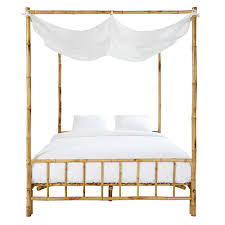 bamboo and white fabric 160 x 200 four poster bed coconut
