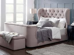 elegant upholstered queen bed frame with tufted wingback headboard
