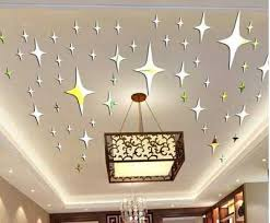 roof decoration 3d star mirror stickers christmas decorative roof ceiling star