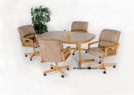 Kitchen Table With Caster Chairs Rolling Dining Chairs Find The Right Match For Your Dinette In