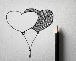 pencil sketching for heart balloon concept stock image image
