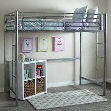 amazon com we furniture twin metal loft bed silver kitchen u0026 dining